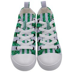 Stripes1 White Marble & Green Marble Kid s Mid Top Canvas Sneakers