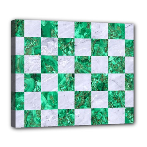 Square1 White Marble & Green Marble Deluxe Canvas 24  X 20   by trendistuff