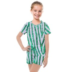 Skin4 White Marble & Green Marble (r) Kids  Mesh Tee And Shorts Set