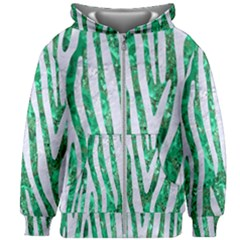 Skin4 White Marble & Green Marble (r) Kids Zipper Hoodie Without Drawstring