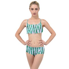 Skin4 White Marble & Green Marble Layered Top Bikini Set by trendistuff