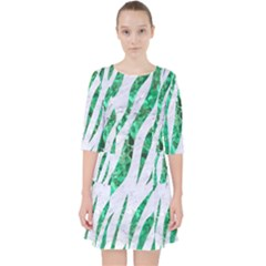 Skin3 White Marble & Green Marble (r) Pocket Dress