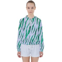 Skin3 White Marble & Green Marble (r) Women s Tie Up Sweat