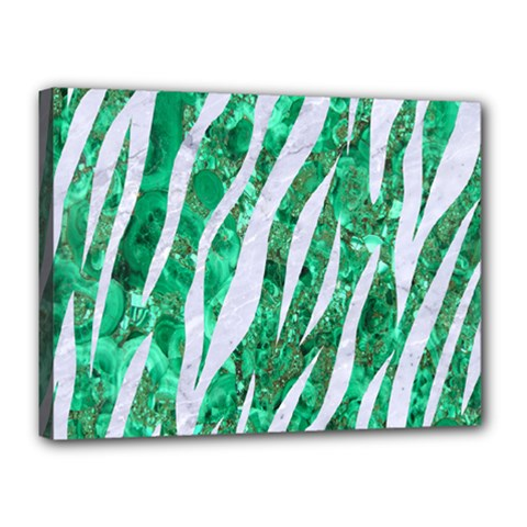 Skin3 White Marble & Green Marble Canvas 16  X 12  by trendistuff