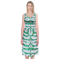 Skin2 White Marble & Green Marble (r) Midi Sleeveless Dress