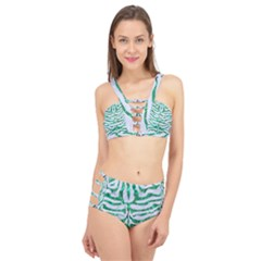 Skin2 White Marble & Green Marble (r) Cage Up Bikini Set