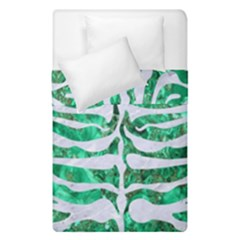 Skin2 White Marble & Green Marble Duvet Cover Double Side (single Size) by trendistuff