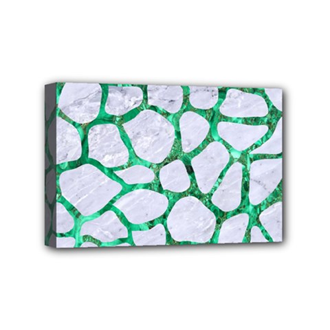 Skin1 White Marble & Green Marble Mini Canvas 6  X 4