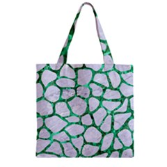 Skin1 White Marble & Green Marble Zipper Grocery Tote Bag by trendistuff