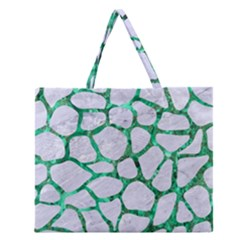Skin1 White Marble & Green Marble Zipper Large Tote Bag by trendistuff
