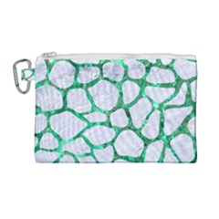 Skin1 White Marble & Green Marble Canvas Cosmetic Bag (large) by trendistuff