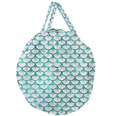 Scales3 White Marble & Green Marble (r) Giant Round Zipper Tote