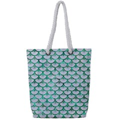 Scales3 White Marble & Green Marble (r) Full Print Rope Handle Tote (small) by trendistuff
