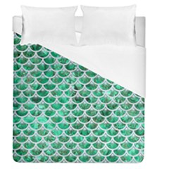 Scales3 White Marble & Green Marble Duvet Cover (queen Size) by trendistuff