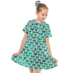 Scales3 White Marble & Green Marble Kids  Short Sleeve Shirt Dress