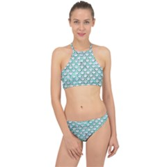 Scales2 White Marble & Green Marble (r) Racer Front Bikini Set