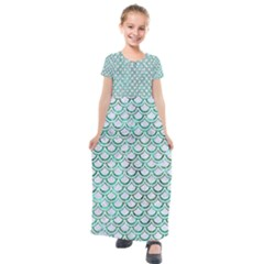 Scales2 White Marble & Green Marble (r) Kids  Short Sleeve Maxi Dress