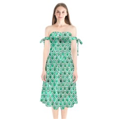 Scales2 White Marble & Green Marble Shoulder Tie Bardot Midi Dress by trendistuff
