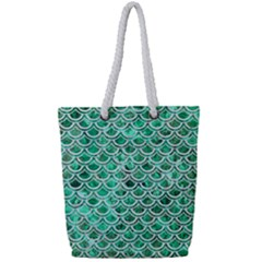 Scales2 White Marble & Green Marble Full Print Rope Handle Tote (small) by trendistuff