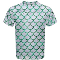 Scales1 White Marble & Green Marble (r) Men s Cotton Tee