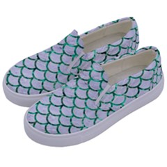 Scales1 White Marble & Green Marble (r) Kids  Canvas Slip Ons by trendistuff
