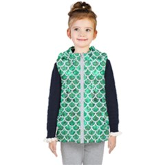 Scales1 White Marble & Green Marble Kid s Hooded Puffer Vest