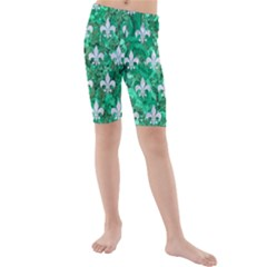 Royal1 White Marble & Green Marble (r) Kids  Mid Length Swim Shorts