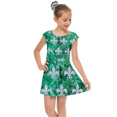 Royal1 White Marble & Green Marble (r) Kids Cap Sleeve Dress