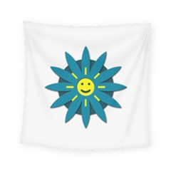 Smiley Flower Square Tapestry (small) by linceazul