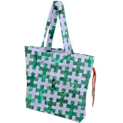 Puzzle1 White Marble & Green Marble Drawstring Tote Bag by trendistuff