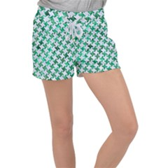 Houndstooth2 White Marble & Green Marble Women s Velour Lounge Shorts