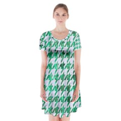 Houndstooth1 White Marble & Green Marble Short Sleeve V Neck Flare Dress
