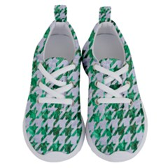Houndstooth1 White Marble & Green Marble Running Shoes