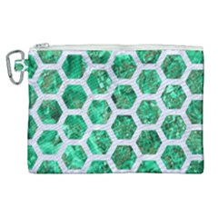 Hexagon2 White Marble & Green Marble Canvas Cosmetic Bag (xl) by trendistuff