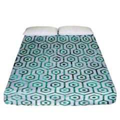 Hexagon1 White Marble & Green Marble (r) Fitted Sheet (california King Size) by trendistuff