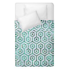 Hexagon1 White Marble & Green Marble (r) Duvet Cover Double Side (single Size) by trendistuff