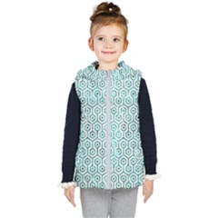 Hexagon1 White Marble & Green Marble (r) Kid s Hooded Puffer Vest