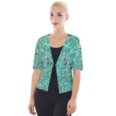 Hexagon1 White Marble & Green Marble Cropped Button Cardigan