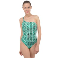 Hexagon1 White Marble & Green Marble Classic One Shoulder Swimsuit