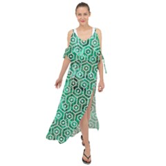 Hexagon1 White Marble & Green Marble Maxi Chiffon Cover Up Dress