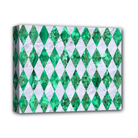 Diamond1 White Marble & Green Marble Deluxe Canvas 14  X 11  by trendistuff