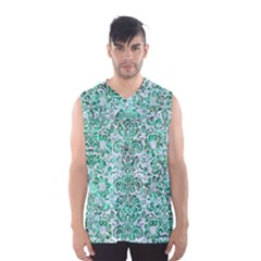Damask2 White Marble & Green Marble (r) Men s Basketball Tank Top