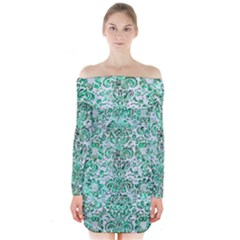Damask2 White Marble & Green Marble (r) Long Sleeve Off Shoulder Dress by trendistuff