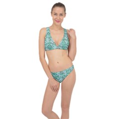 Damask2 White Marble & Green Marble (r) Classic Banded Bikini Set