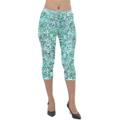 Damask2 White Marble & Green Marble (r) Lightweight Velour Capri Leggings  by trendistuff
