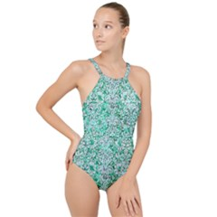 Damask2 White Marble & Green Marble High Neck One Piece Swimsuit