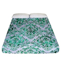 Damask1 White Marble & Green Marble (r) Fitted Sheet (california King Size) by trendistuff