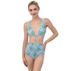 Damask1 White Marble & Green Marble (r) Tied Up Two Piece Swimsuit