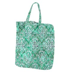 Damask1 White Marble & Green Marble Giant Grocery Tote by trendistuff