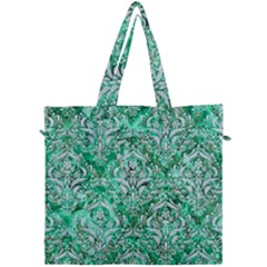 Damask1 White Marble & Green Marble Canvas Travel Bag by trendistuff